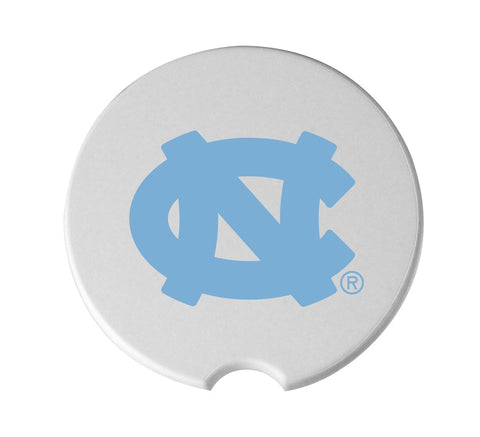 White Ceramic Circular Car Cup Holder Coaster with a Blue UNC Logo