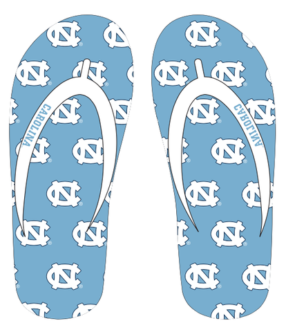 North Carolina Tar Heel Jardine Riviera Premium Rubber Sole Flip Flops with Fabric