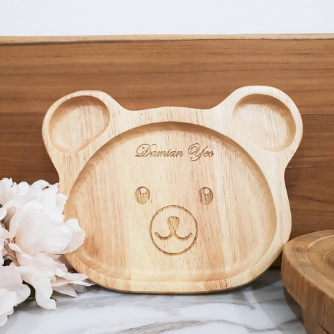 Personalised Wooden Bear Plate