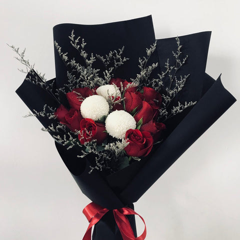 Classic Red Roses & Ping Pong Bouquet