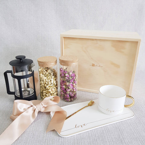 FLOWER TEA PINE WOOD GIFT SET 09 (Nationwide Delivery)