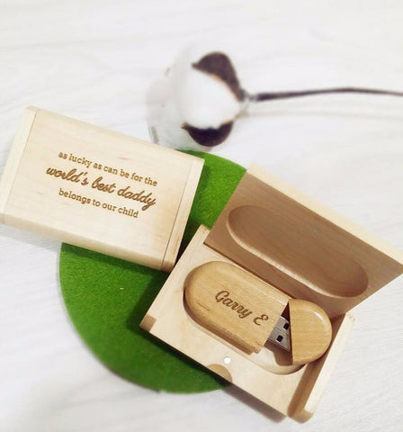 Personalized USB Drive with Wooden Box