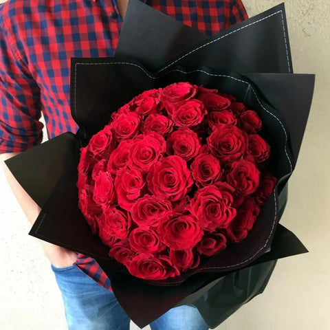 Red in Black (24 Red Roses wrapped in black) - Valentine's Day 2019