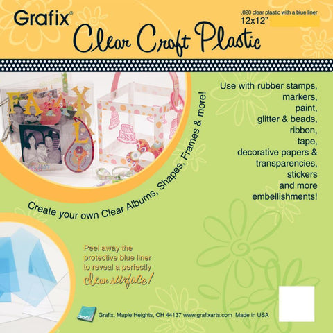 "GRAFIX - Craft Plastic Sheet (2) 12x12 .020"" Heavy Acetate, Transparency, Overlay"