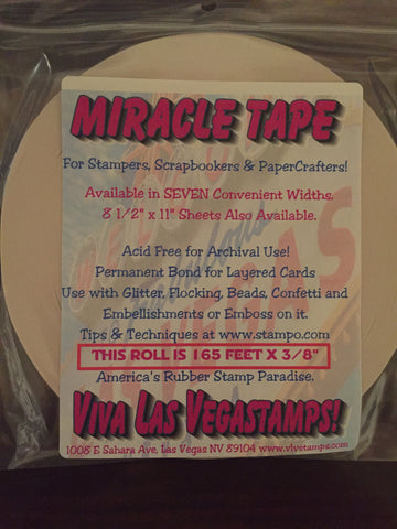 "Miracle Tape - 3 rolls 3/8"" Double-Sided Tape Bundle, (165 feet/55 yards per roll)"