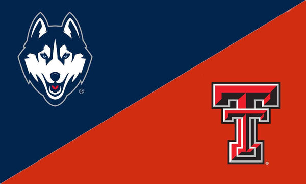 UCONN & Texas Tech House Divided Flag