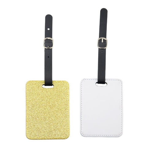 sublimation blank gold glitter luggage tag