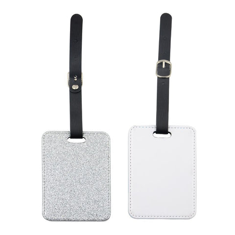 sublimation blank silver glitter luggage tag