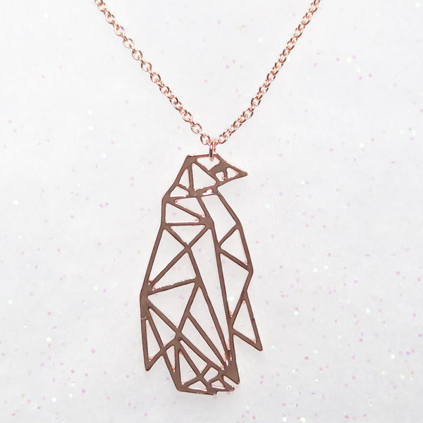 Large Geometric Penguin Necklace in Rose Gold, Gold & Silver