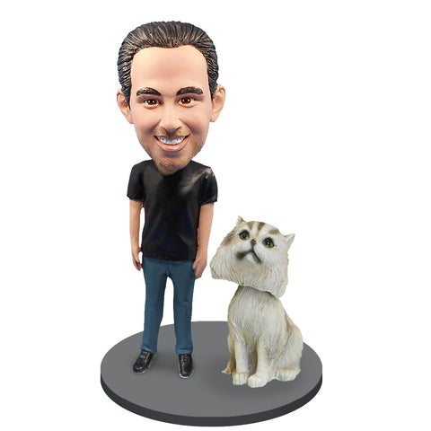 Custom Male with Custom Pet Cat Bobblehead