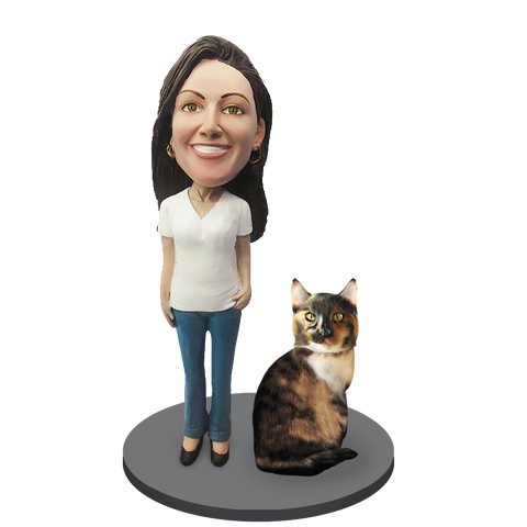 Custom Female with Custom Pet Cat Bobblehead - Calico Cat