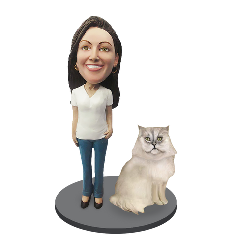 Custom Female with Custom Pet Cat Bobblehead - Persian Cat Grey