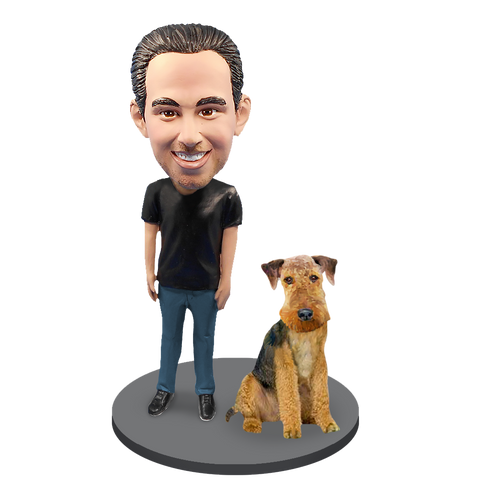Custom Male with Custom Pet Dog Bobblehead - Airedale