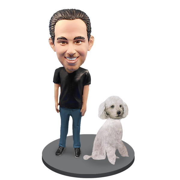 Custom Male with Custom Pet Dog Bobblehead - Poodle White Miniature