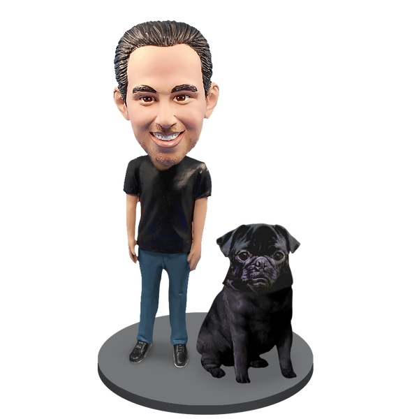 Custom Male with Custom Pet Dog Bobblehead - Pug Black