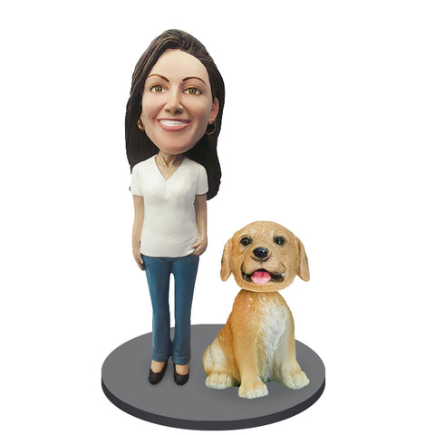 Custom Female with Custom Pet Dog Bobblehead
