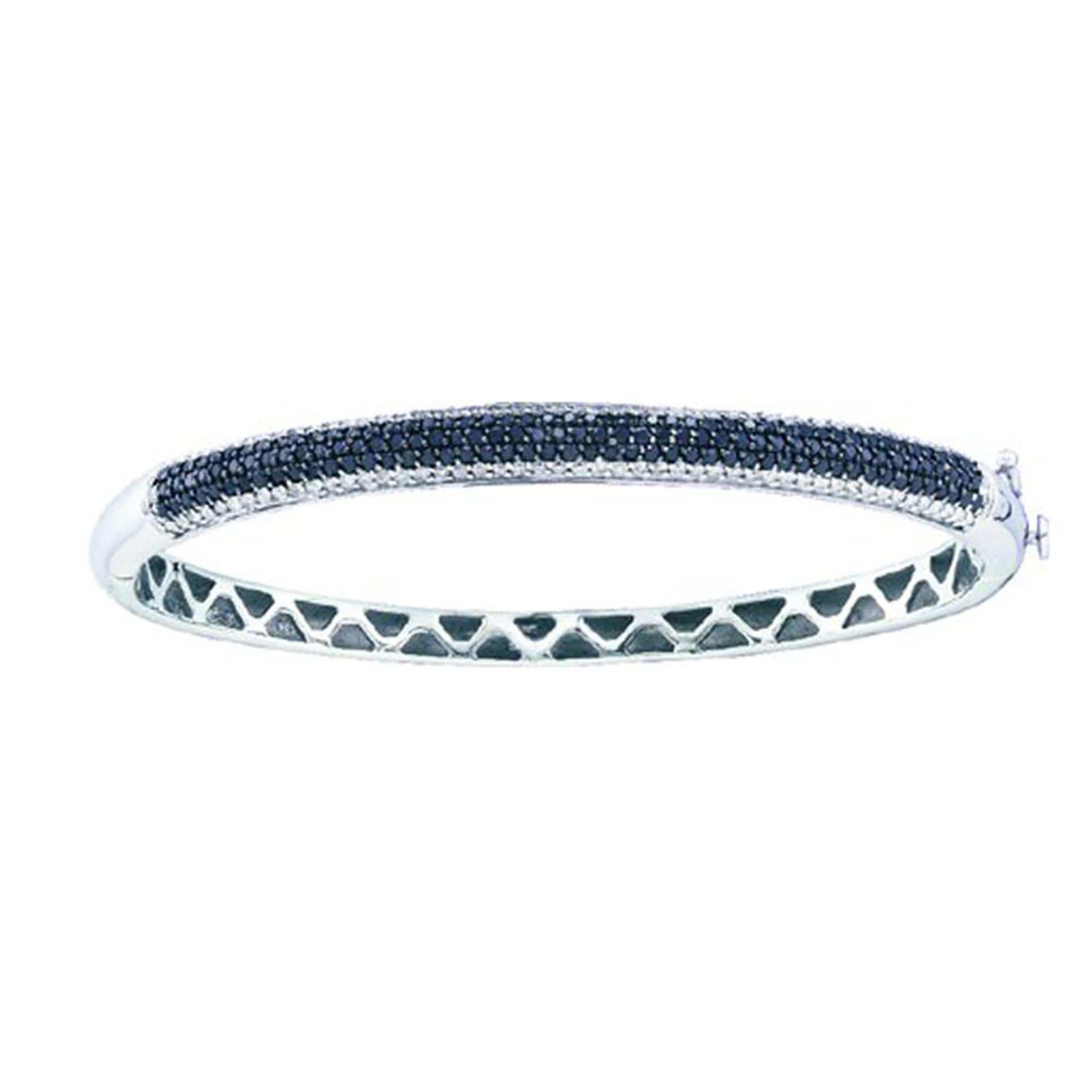 1.48CT Black/White Diamond 14K White Gold Bangle Bracelet: