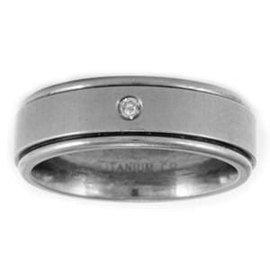 Men's Aircraft Grade Titanium and Diamond Comfort-Fit Wedding Ring (7.00 mm)