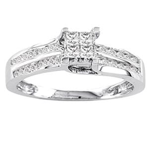 1/3 Carat Princess & Round Diamond 14k White Gold Promise Engagement Ring