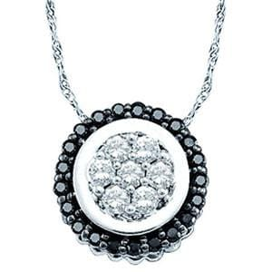 1/3 Carat Black White Diamond 14k White Gold Circle Flower Cluster Pendant w/ Chain:
