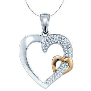 1/7 Carat Diamond Two Tone Sterling Silver Heart Pendant: