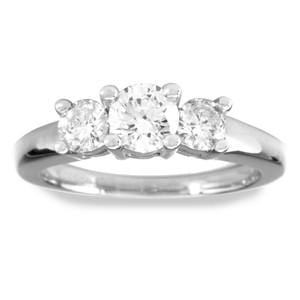 1/2 Carat Three-Stone Diamond 14k White Gold Engagement Ring