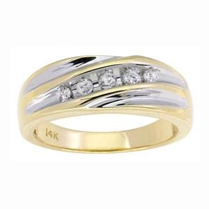 Men's 14k Two Tone Gold Diamond Anniversary Wedding Ring (0.25 ctw)
