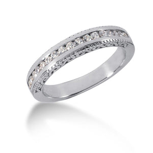14K White Gold Vintage Style Engraved Diamond Channel Set Wedding Ring Band Size 7