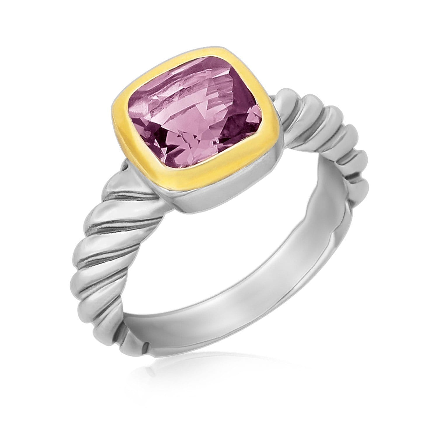 18K Yellow gold and Sterling Silver Cable Shank Ring with a Cushion Amethyst Size 8