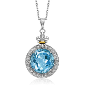 18K Yellow Gold & Sterling Silver Round Blue Topaz and Diamond Pendant 18 inches