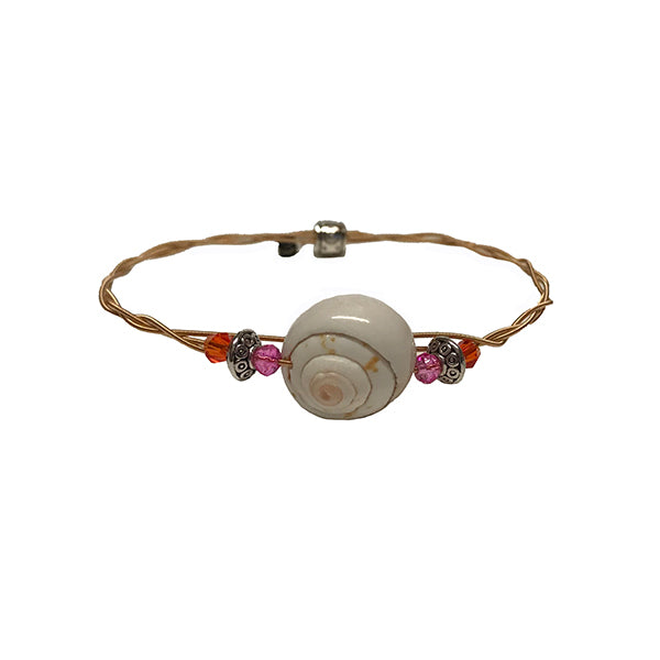 Women's Idle Strings Bracelet - Bronze Shell Pink/Orange Beads