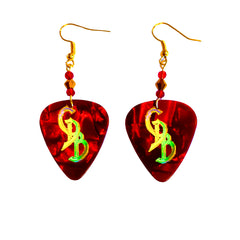 Red/Gold Holofoil CDB Guitar Pick Earrings
