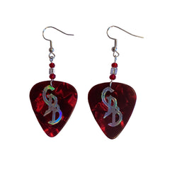 Red/Silver Holofoil CDB Guitar Pick Earrings