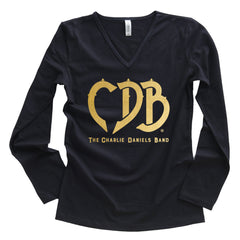NEW! Women's CDB Long Sleeve Logo Gold Foil V-Neck Tee