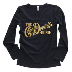 NEW! Women's Long Sleeve CDB High Lonesome Logo Gold Foil V-Neck Tee