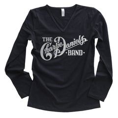 NEW! Women's Long Sleeve CDB High Lonesome Logo Silver Foil V-Neck Tee
