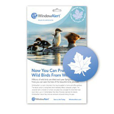 WindowAlert Modern Maple Leaf Decal Envelope - 4 decal pack - BIRD CONTROL - FLOCK FREE