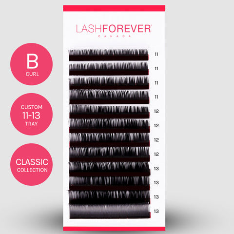 CLASSIC LASH EXTENSIONS - B CURL - CUSTOM MIXED - 11-13MM
