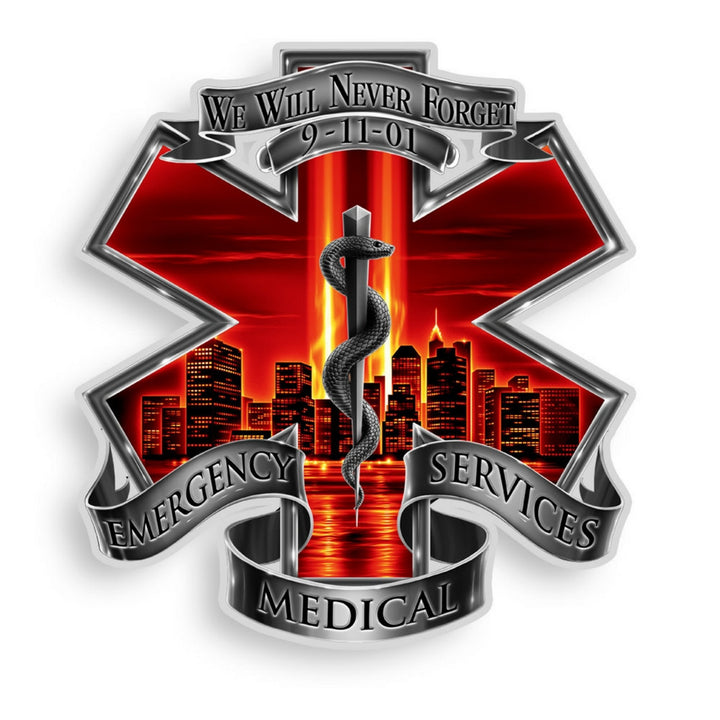 9/11 EMS Never Forget Decal-Military Republic