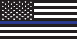 "American Flag Thin Blue Line 4.5"" x 2.33"" Decal"