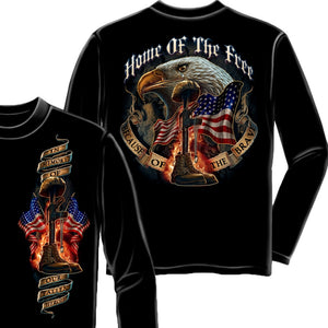 Home Of The Free - Because Of The Brave Long Sleeve Shirt-Military Republic