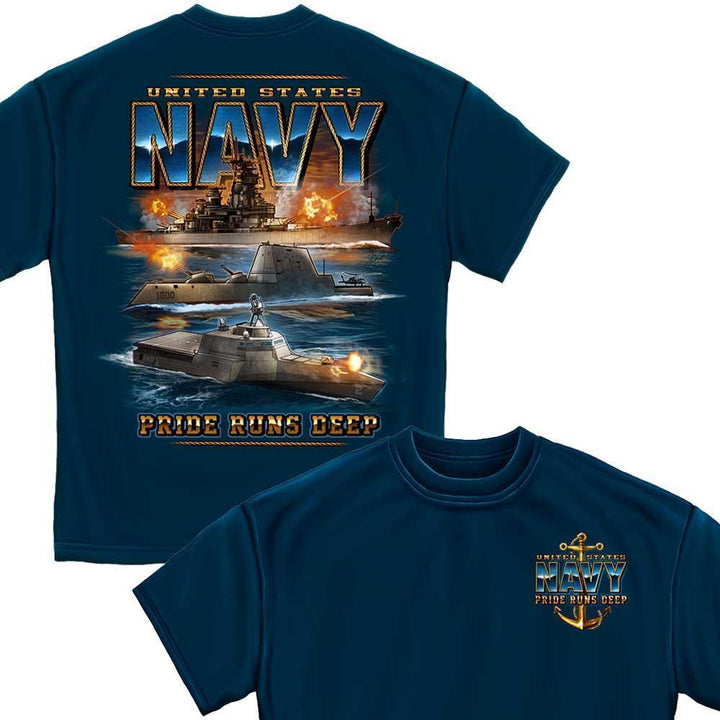 Navy Pride Runs Deep T-Shirt-Military Republic