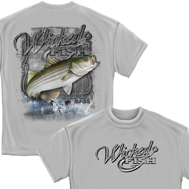 Wicked Fish Fighting Bass T-Shirt-Military Republic