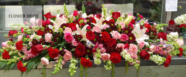 Casket Spray Red Rose and Pink