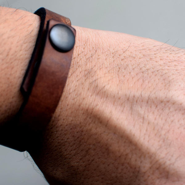 Brown unisex Leather Wrist band-FASHION-PropShop24.com