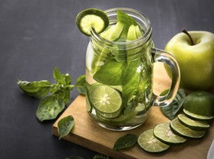 An Apple, Lime & Basil green infusion