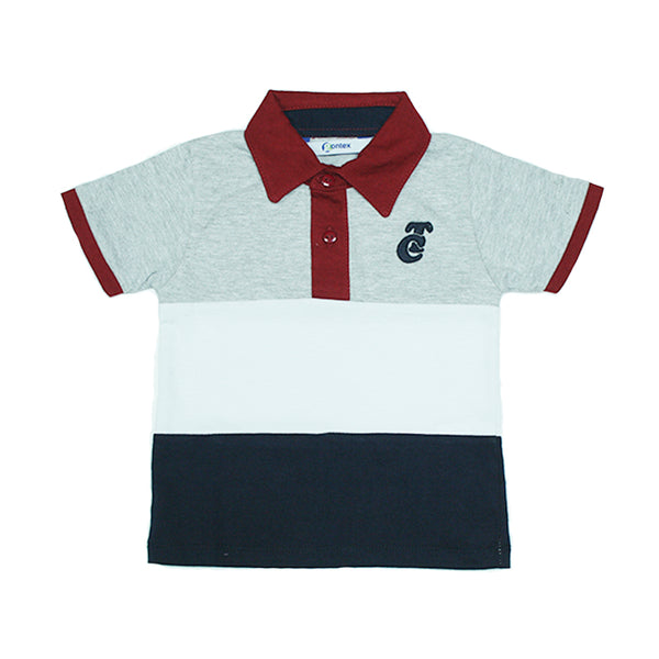 Playera Polo TC Azul-Gris Bebe