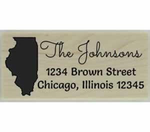 "Custom Illinois Stamp Design 4 - 2.5"" X 1"" - Stamptopia"