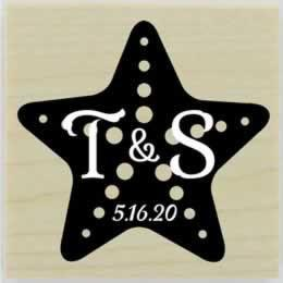 "Star Fish Monogram Rubber Stamp - 1.5"" X 1.5"" - Stamptopia"