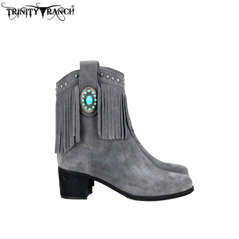 LBT-002  Trinity Ranch Western Leather Suede Booties Fringe Collection
